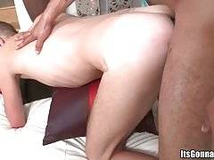 Horny white lad gets his tight ass attacked with giant black cock.